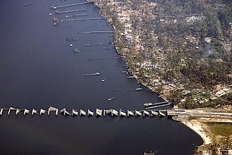 Effects of Hurricane Katrina in Mississippi - Damage to the Biloxi-Ocean Springs bridge.