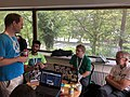 Structured Data on Commons data modelling session at the Wikimania 2019 Hackathon - group discussing data modelling for scanned publications.jpg