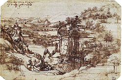 Leonardo's earliest known drawing, the Arno Valley, (1473) - Uffizi