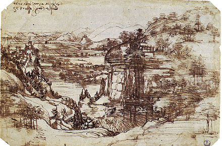 Leonardo's earliest known drawing, the Arno Valley (1473), Uffizi Study of a Tuscan Landscape.jpg
