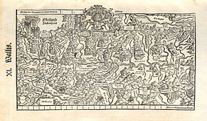 République des Sept-Dizains - Map of the Valais by Johannes Stumpf, printed by Christoph Froschauer in 1548. The first map of the Valais was drawn by Johannes Schalbetter and printed by Sebastian Münster in 1545.