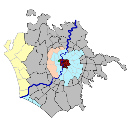 Map of the historical subdivisions of Rome, coloured according to type