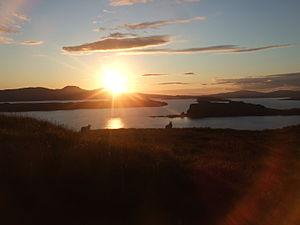 Loch Bracadale - Looking Northwest from Fiskavaig across Loch Bracadale with the Oronsay, Wiay, Tarner Island, and Harlosh Island in order of distance