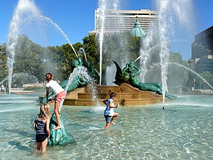 Swann Memorial Fountain - Children playing in Swann Memorial Fountain.