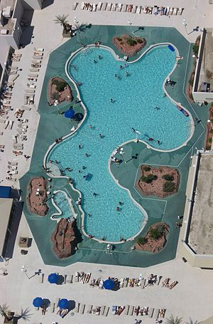 An above view of a roof-top swimming pool when looking down from the top of the Stratosphere in Las Vegas, NV..