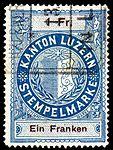 Switzerland Lucerne 1897 revenue 6 1Fr - 61 - E 1 97.jpg