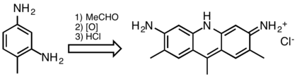 Synthesis of C.I. Basic Yellow 9, an acridine dye.