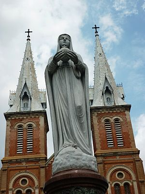 Our Lady of Peace - Statue of Our Lady of Peace in front of Saigon Notre-Dame Basilica