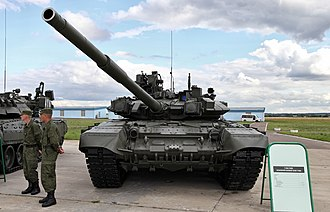 T-90 - A Russian specification T-90A. The new welded turret with its angular geometry is clearly visible.