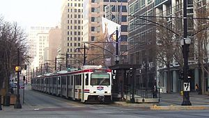 Blue Line (TRAX) - Train on the Blue Line at the Gallivan Plaza Station in Downtown Salt Lake City headed towards Sandy