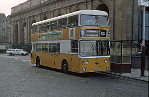 History of the PTE bus operations - Tyne & Wear PTE Metro Cammell Weymann bodied Leyland Atlantean at Newcastle station in June 1980