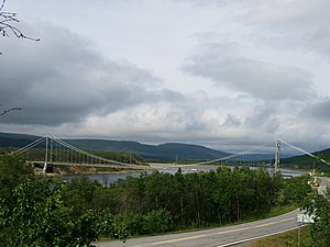 Tana, Norway - View of the bridge over the river Tanaelva