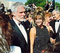 Jane Fonda e Ted Turner na cerimônia dos Prêmios Emmy, em 1992.