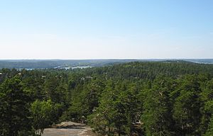 Tyresö Municipality - View from Telegrafberget towards Stockholm. The Ericsson Globe can be seen on the horizon.