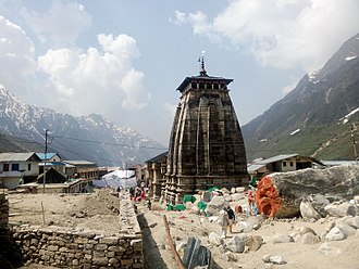 Kedarnath Temple - Rear view of the Kedarnath Temple in the aftermath of the flood