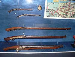 Japanese arquebuses of the Edo era. These types of firearms were used by Japanese soldiers during Hideyoshi's invasions.