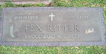 Tex Ritter's grave marker located at Oak Bluff...
