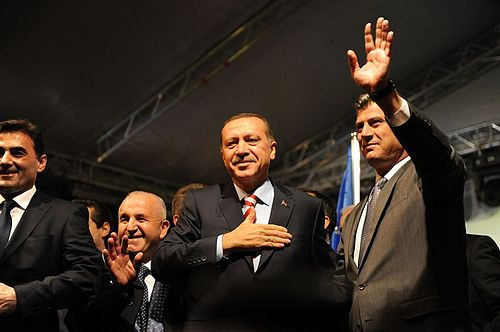 Erdogan joined by his Kosovo counterpart Hashim Thaci, 3 November 2010 Thaci-Erdogan2.jpg