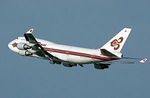 Thai Airways Boeing 747-400 in 1974-2005 liver...
