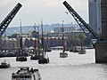 Thames barge parade - Tower Bridge opens 6667.JPG
