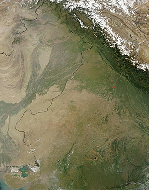 Thar Desert - A NASA satellite image of the Thar Desert, with the India–Pakistan border superimposed