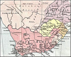 Thomas Charles Scanlen - The Cape Colony (dark pink) and neighbouring states, on the eve of the Confederation Wars and before the loss of Basutoland in 1881.