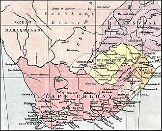 Henry Bartle Frere - Southern Africa in 1878, on the eve of the confederation wars, with the Cape Colony in dark pink.