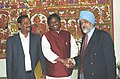 The Chief Minister of Jharkhand, Shri Arjun Munda meeting the Deputy Chairman Planning Commission, Shri Montek Singh Ahluwalia to finalize Annual Plan 2006-07 of the State, in New Delhi on February 17, 2006.jpg