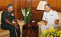 The Commander of Brazilian Navy, Admiral Julio Soares De Moura Neto called on the Chief of Army Staff, General V.K. Singh, in New Delhi on August 09, 2010.jpg