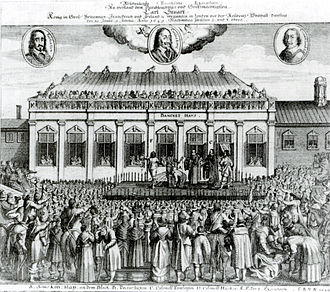 Banqueting House, Whitehall - A contemporaneous print showing the execution of Charles I on 30 January 1649 outside the Banqueting House, which is inaccurately depicted