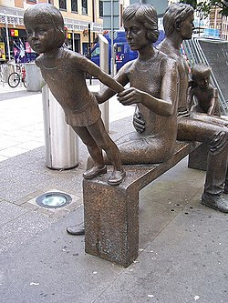 The Family sculpture by Robert Thomas, Cardiff Queen Street - geograph.org.uk - 624471