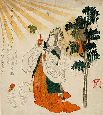 Founding of the Nation - The Goddess Uzume with Rooster and Mirror (Edo-period woodblock print); Uzume's dance is linked with the origins of kagura; here she wields kagura suzu