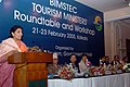 The Minister State for Tourism Smt Renuka Choudhury speaking at the inauguration of the Round Table meet and Workshop of Tourism Ministers from the BIMSTEC Countries in Kolkata on February 21st 2005.jpg