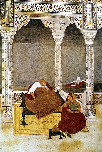 Jahanara Begum - The Passing of Shah Jahan beside his daughter and caretaker Princess Jahanara. Painting by Abanindranath Tagore, 1902