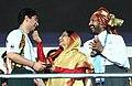 The President, Smt. Pratibha Devisingh Patil greetings the Beijing Olympic Gold Medalist, Shri Abhinav Bindra at the opening ceremony of 3rd Commonwealth Youth Games-2008, in Pune on October 12, 2008.jpg