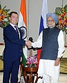 The Prime Minister, Dr. Manmohan Singh at a bilateral meeting with the President of the Russian Federation, Mr. Dmitry A. Medvedev, on the sidelines of the BRICS Summit, in New Delhi on March 29, 2012.jpg