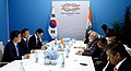 The Prime Minister, Shri Narendra Modi in bilateral meeting with the President of South Korea, Mr. Moon Jae-in, on the sidelines of the 12th G-20 Summit, at Hamburg, Germany on July 08, 2017 (3).jpg