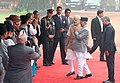 The Prime Minister of Nepal, Shri K.P. Sharma Oli being introduced to Indian dignitaries by the Prime Minister, Shri Narendra Modi, at the Ceremonial Reception, at Rashtrapati Bhavan, in New Delhi on February 20, 2016.jpg