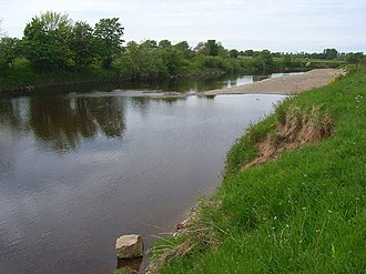 Battle of Solway Moss - River Esk at Arthuret; a Scottish army was trapped nearby in 1542