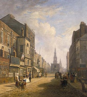 The Strand, looking eastwards from Exeter Exchange (1822) - the distant church is St Mary le Strand, with St Clement Danes behind The Strand, Looking Eastwards from Exeter Change, c1824.jpg