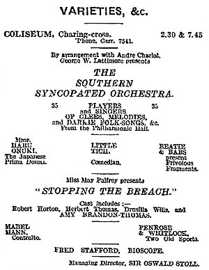 George Lattimore - Advertising for the Southern Syncopated Orchestra in The Times, 13 Dec 1919.