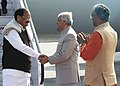 The Vice President, Shri M. Venkaiah Naidu being received by the Governor of Uttarakhand, Dr. Krishan Kant Paul and the Chief Minister of Uttarakhand, Shri Trivendra Singh Rawat, on his arrival, in Dehradun on March 03, 2018.jpg