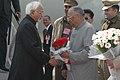 The Vice President, Shri Mohd. Hamid Ansari being received by the Governor of Uttar Pradesh, Shri T.V. Rajeshwar on his arrival at Lucknow airport, in Uttar Pradesh on January 06, 2009.jpg