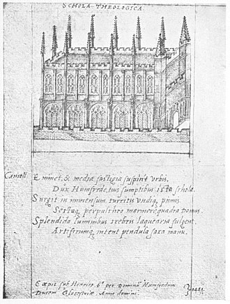 Bodleian Library - The library in 1566, drawn by John Bereblock and given to Queen Elizabeth I as part of a book when she first visited Oxford.
