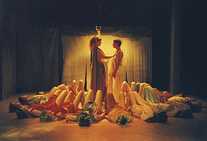 The Bacchae - Ramona Reeves and Lynn Odell in director Brad Mays' stage production of Euripides' The Bacchae, 1997, Los Angeles.