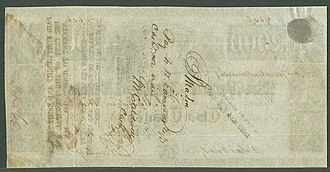 United States two thousand-dollar bill - Image: Third Bank of the US $2000, Dec 15, 1840, reverse