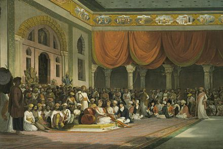 Maratha Peshwa Madhavrao II, surrounded by nobles in his court in 18th-century India. Thomas Daniell, Sir Charles Warre Malet, Concluding a Treaty in 1790 in Durbar with the Peshwa of the Maratha Empire.jpg