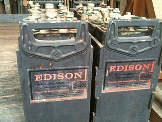 "Nickel–iron battery - Nickel–iron batteries manufactured between 1972 and 1975 under the ""Exide"" brand originally developed in 1901 by Thomas Edison."