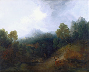 Mountain Valley with Figures and Distant Village