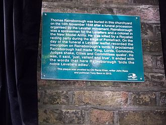 Thomas Rainsborough - Plaque installed in Wapping 12 May 2013